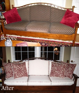 Recovered cushions and custom pillows