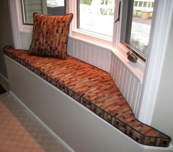 custom window seat and pillow
