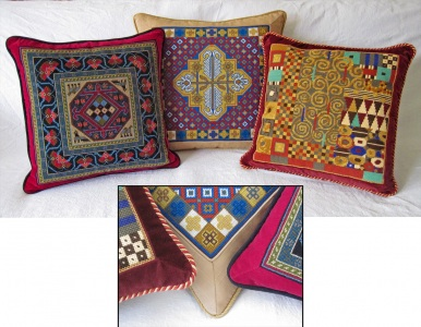Tapestry pillows with framed border