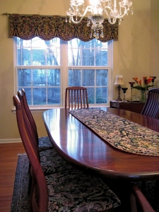 Matching valance and table runner