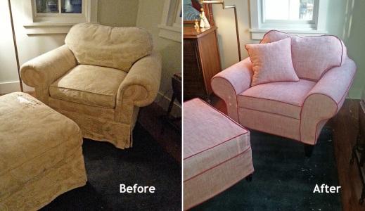 Armchair and ottoman slipcovers