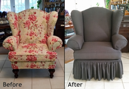 Wing chair slipcover with gathered skirt
