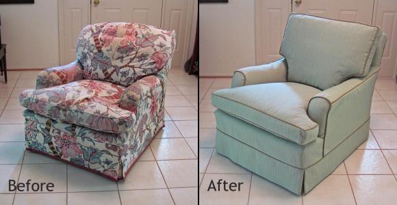 Armchair slipcovered in Sunbrella fabric
