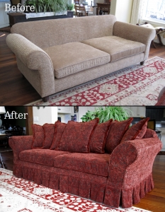 slipcovered sofa and custom pillows