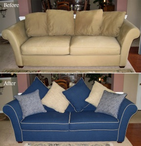 Slipcovered couch and custom pillows