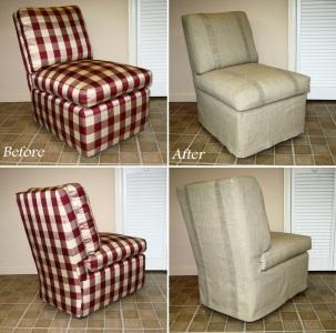 Slipcovered slipper chair