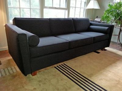 Sofa slipcover with custom pillows