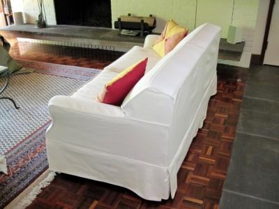Slipcovered sofa bed