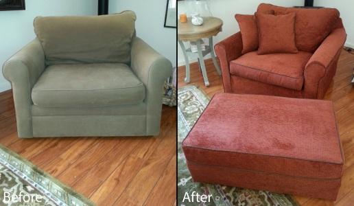 Slipcovered armchair and ottoman with custom pillows