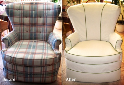 Slipcovered armchair