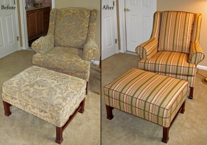 slipcovered wing chair and ottoman